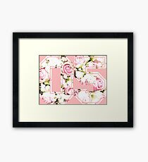 5th b-day gift roses number 05 5 birthday pink Framed Print