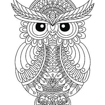 Cute Owl Lover Folk Art Native American Zentangle Owls by LoveAndSerenity