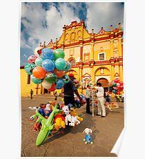The Zocalo in San Cristobal de las Casas in Chiapas Mexico Poster