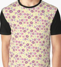 Boho Floral Bloom pattern on yellow background Graphic T-Shirt