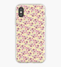 Boho Floral Bloom pattern on yellow background iPhone Case