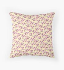 Boho Floral Bloom pattern on yellow background Floor Pillow