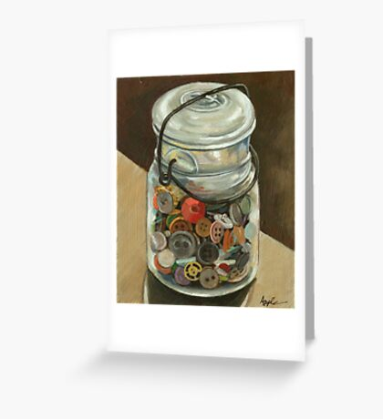 Glass Jar of Buttons Greeting Card