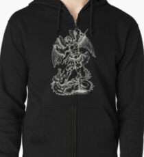 Angel and Dragon Heraldry Coat Of Arms Zipped Hoodie
