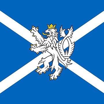 Blue and White Scottish Flag with White Lion by podartist