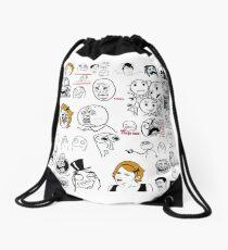Meme Collage Drawstring Bag