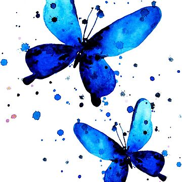 The flying-up watercolor butterflies by ativka