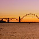Sun Setting Behind Yaquina Bay Bridge by aussiedi
