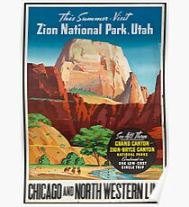 Vintage Travel Poster: Zion National Park Poster