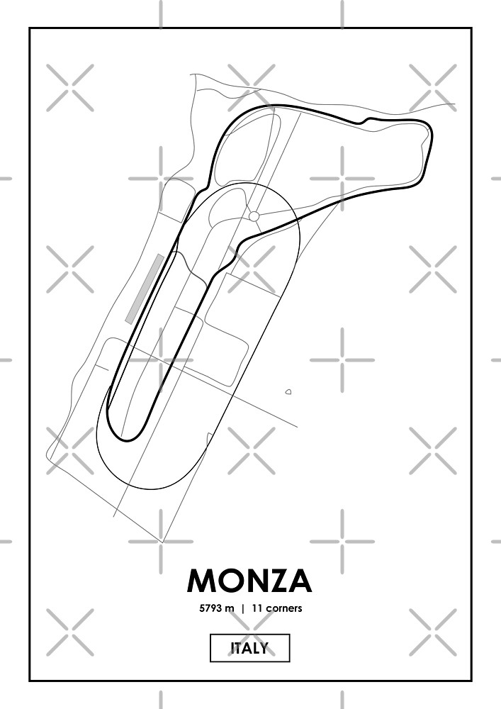 Monza Italy Track Map By Andrea Anastasio Redbubble