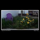 Purple Chair and Sunflowers Poster by Wayne King