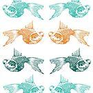 goldfish pattern 3 - tricolour aqua by Sally Barnett