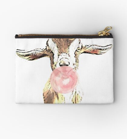 Funny Goat With Pink Bubblegum Studio Pouch