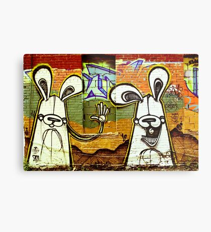 Graffiti Bunnies Metal Print