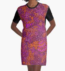 Orange, Pink, and Purple Doodle Pattern Graphic T-Shirt Dress