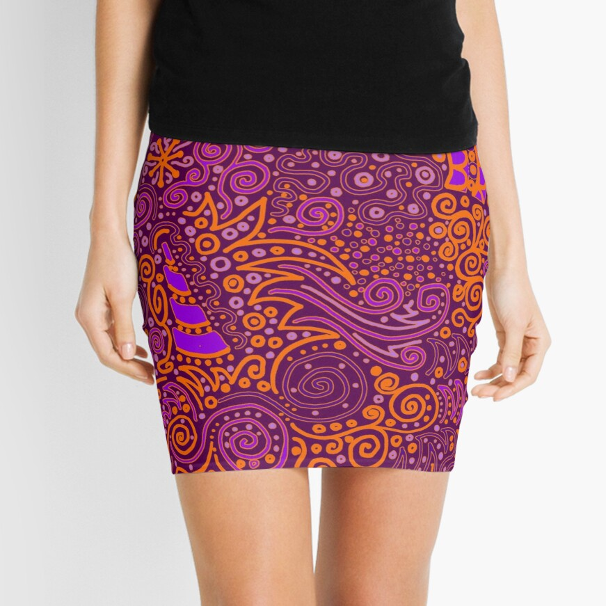 Orange, Pink, and Purple Doodle Pattern Mini Skirt Front