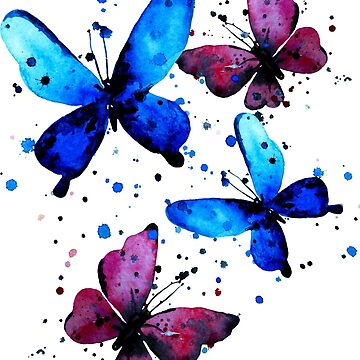 Watercolor butterflies by ativka