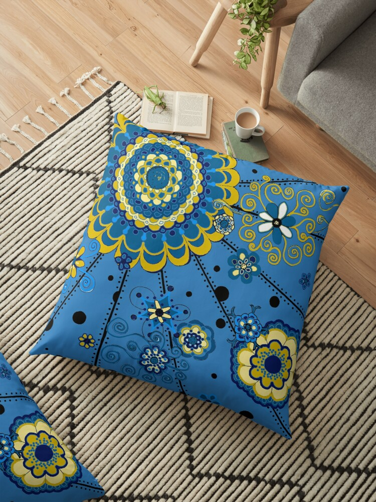 Yellow and Blue Mandala by Clare Wuellner