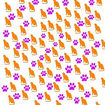 Cats and Paw Prints by sorakaji