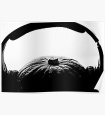 Pumkin with headphones on Poster