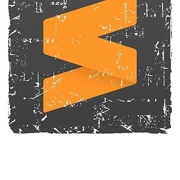 Sublime Text Editor Logo Programming Programmer Grunge T-Shirt by BoringCoShirts