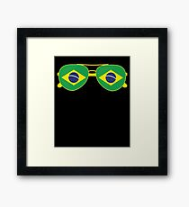 Brazilian Flag Brazil Sunglasses T-Shirt Brazil Flag Tee Framed Print