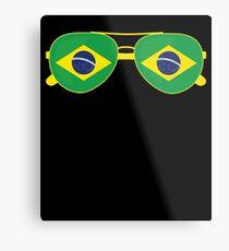 Brazilian Flag Brazil Sunglasses T-Shirt Brazil Flag Tee Metal Print