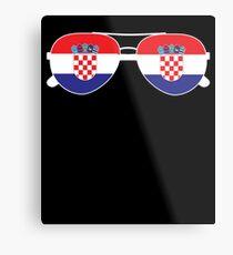 Croatian Flag Croatia Sunglasses T-Shirt Croatia Flag Tee Metal Print