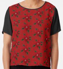 Christmas Red Poinsettia Chiffon Top