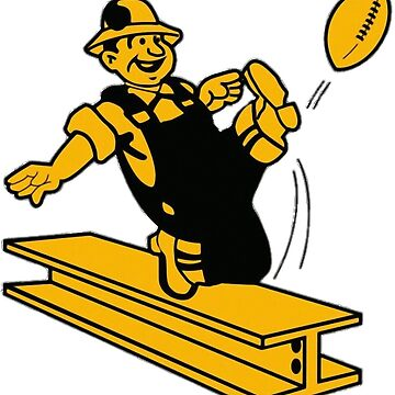 Pittsburgh Steelers Vintage Logo - Steelworker kicking a football off of an I-beam by Glyn123