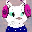 cat with headphones by greenrainart