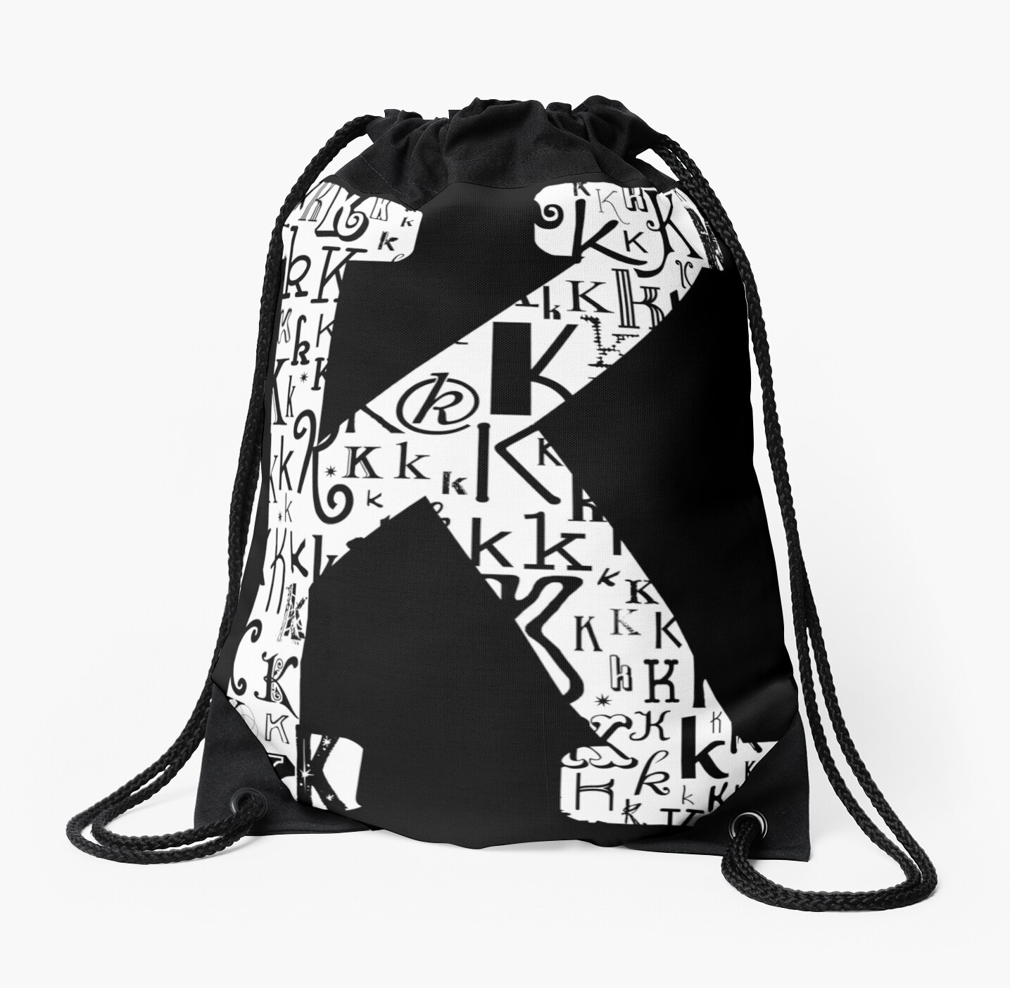 The Letter K Black Background Drawstring Bags By Julie Hartman