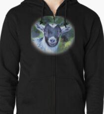 Portrait of a Goat - Pygmy Kid Zipped Hoodie