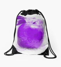 Purple Apple Painting Drawstring Bag