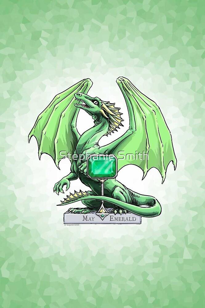 Birthstone Dragon: May Emerald Illustration by Stephanie Smith