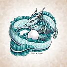 Birthstone Dragon: June Pearl Illustration  by Stephanie Smith