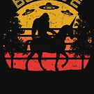 Believe Bigfoot Is Riding A Unicorn Alien Abduction Graphic by cottonklub