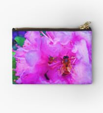 Shiny Bee Wings Soft Pink Flowers Painting Studio Pouch