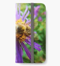 Fat Bumblebee Radiant Purple Aster Painting iPhone Wallet/Case/Skin
