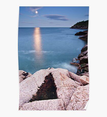 Otter Cliffs Moonrise Poster