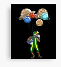 Clown with planet balloons Canvas Print