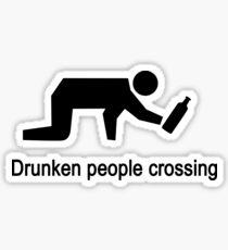 Drunken People Crossing Traffic Sign Sticker