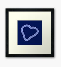 Amazing Hand Drawing sky blue heart on navy blue background scarf Framed Print