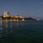Hawaiian Lights - Waikiki Beach and Diamond Head Volcano Crater by Georgia Mizuleva