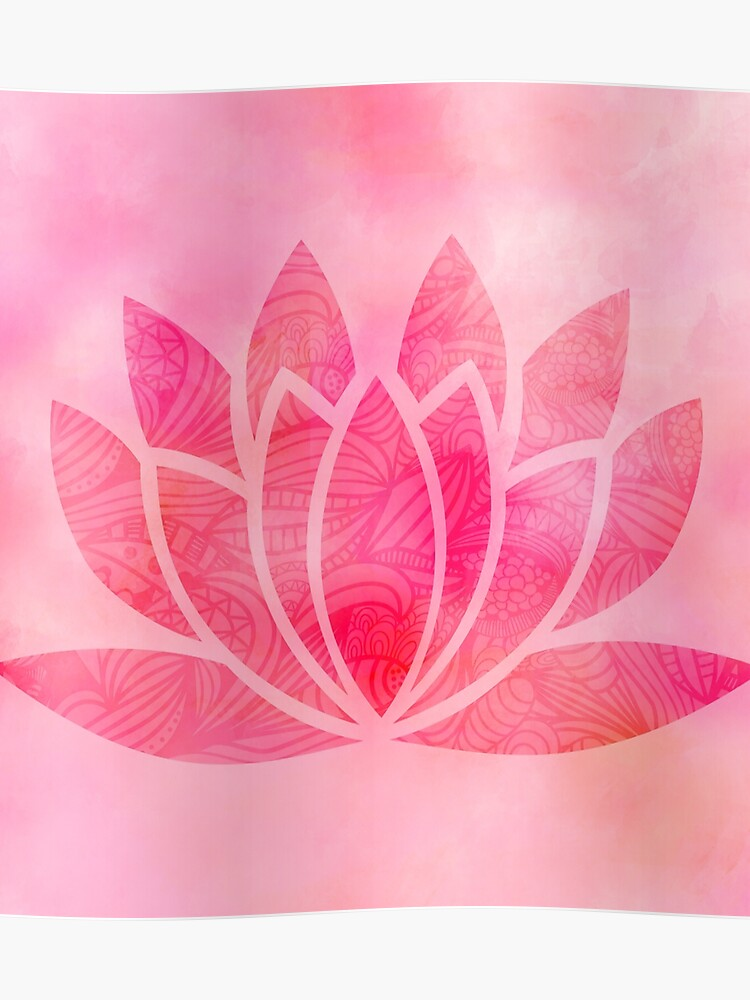 Lotus Flower Symbol In Soft Pink Poster By Sunnytime Redbubble