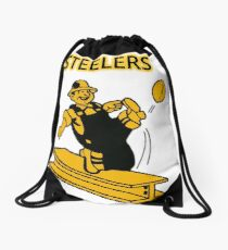 Steelers Vintage Pittsburgh Steelers - fantastic image of walking iron steel girder kicking  football Drawstring Bag