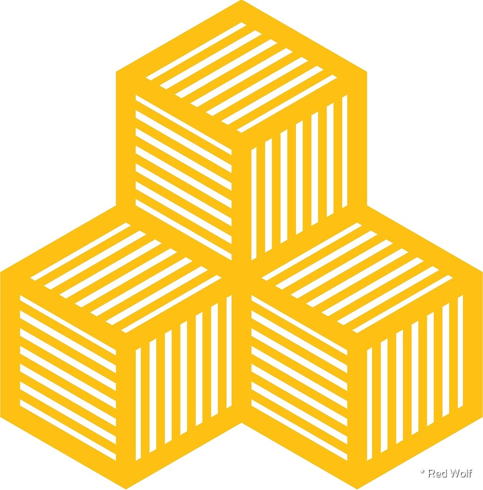 Geometric Pattern: Cube Stripe: Yellow by * Red Wolf