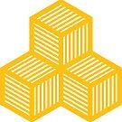 Geometric Pattern: Cube Stripe: Yellow by * Red Wolf