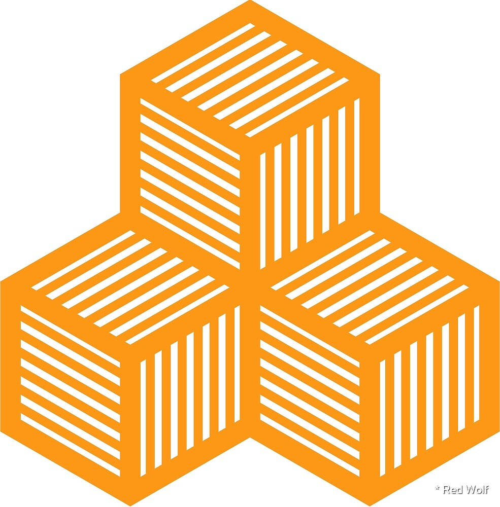 Geometric Pattern: Cube Stripe: Orange by * Red Wolf