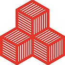 Geometric Pattern: Cube Stripe: Red by * Red Wolf